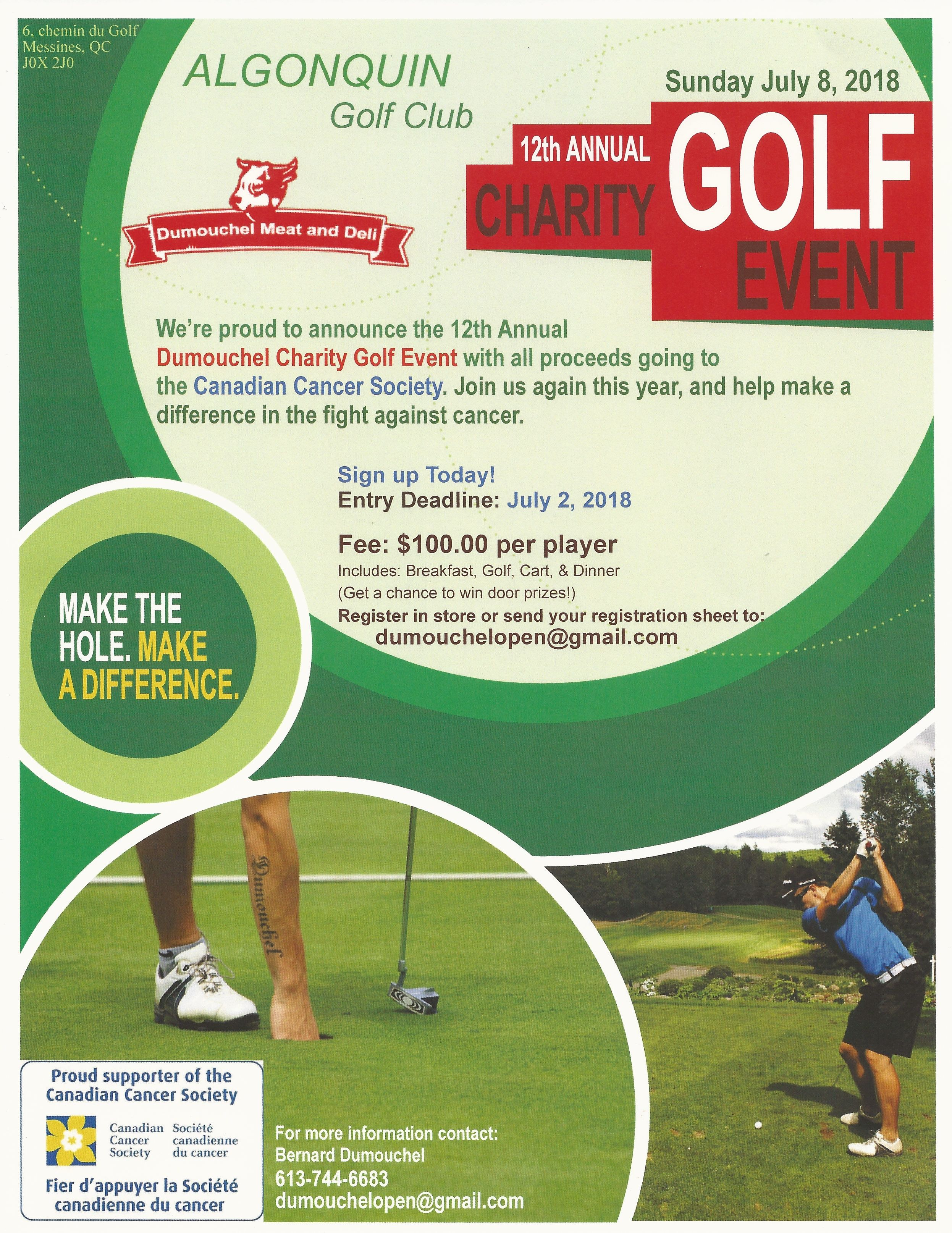 Annual Dumouchel Charity Golf Event - all proceeds go to Canadian Cancer Society
